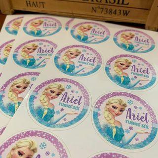 Elsa frozen theme birthday sticker labels customised for goodie bag