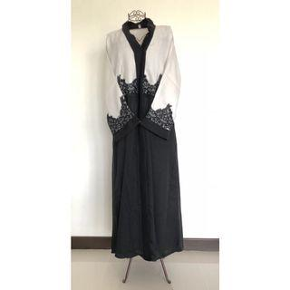 BN Cream Black Lace Colourblock Abaya