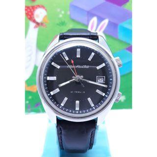 瑞士原裝CITIZEN星晨--鬧鈴錶日期顯示,不繡鋼外殼.手動上鍊機械男錶