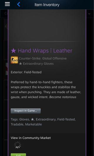 🚚 WTS CSGO Hand Wraps Leather ft
