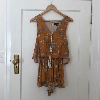Nunui Yellow Floral Playsuit Size 8