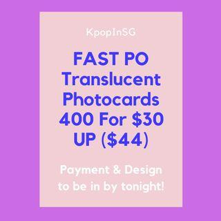 [Fast PO] Translucent Photocards 400 For $30  UP($44)