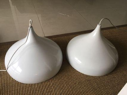 Pair of stylish white ceiling lamps