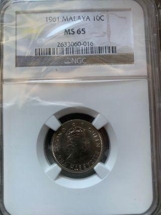 Malaya 1961 Queen 10cents NGC MS65