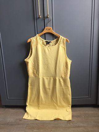 Dress hnm yellow muda pastel yellow