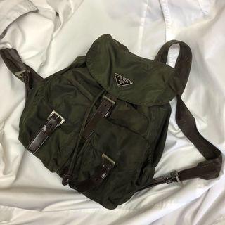 Prada 軍綠 後背包 美品 雙口袋 瑞奇二手精品
