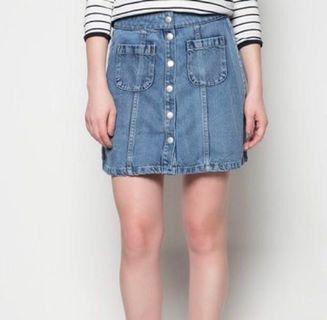 Factories denim button down skirt