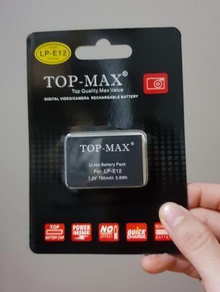 Top-Max LP-E12 Battery 780 mAh for Canon EOS 100D EOS-M Rebel SL1 X7