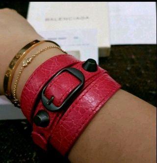 Authentic Balenciaga Classic Bracelet Rose Thulian Balb Size Large