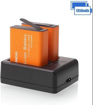 2×1350mAh Action Camera Battery Rechargeable For CAMKONG/ AKASO/ APEMAN/ SJCAM SJ4000 SJ5000 SJ6000 SJ7000/ Crosstour/ Victure/ WiMiUS/ Campark/ Vemont/ SOOCOO/ VicTsing/ EKEN Sports Camera