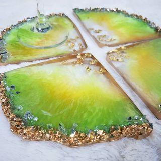 Set Of 4 Green Gold Resin Coasters