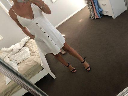 White frill midi dress - size 10 Peppermayo
