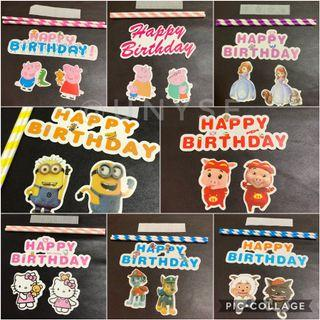 Theme Happy Birthday Cake Toppers Banner Cupcake Toppers