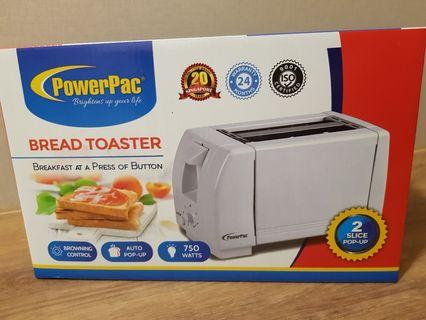 Powerpac 2 Slice Pop-up Bread Toaster (BNIB)
