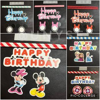 Theme Happy Birthday Cake Toppers Banner cupcake toppers props
