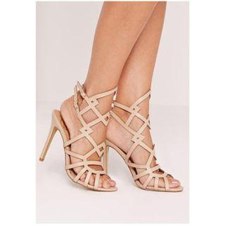 Missguided laser cut heeled gladiators nude Size 7