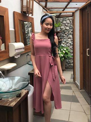 Pink Spit Midi Dress