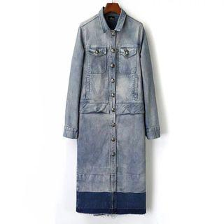 牛仔長外套 extra long denim shirt jacket