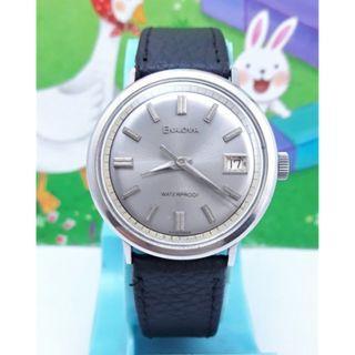 瑞士原裝寶路華BULOVA日期顯示,原裝龍頭.不鏽鋼手動上鏈男錶
