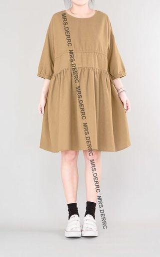 🚚 「轉售」鹿西太太。棉混紡腰抽繩造型洋裝(卡其)