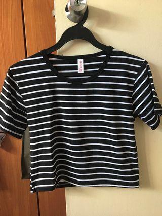 Stripe basic crop top