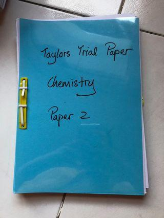 A Levels Chemistry - Taylor's Past Year Trial Papers Compilation (AS only)
