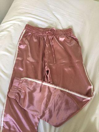 Pink Satin Trackpants