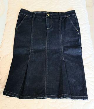Zara Basic Dark Blue Denim Skirt