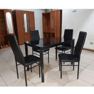 Black Glass Dining Set 4 Seater