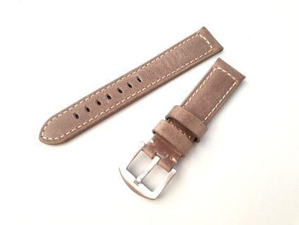 SALE Light Brown 20MM Cowhide Leather Watch Strap
