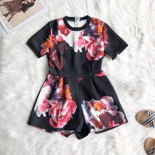 Sweet Floral Romper with Pockets