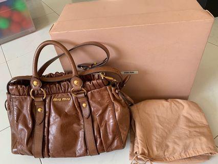 Miu Miu Vitello Brown Bow Bag