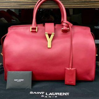 YSL Red Cabas Chyc In Large with GHW