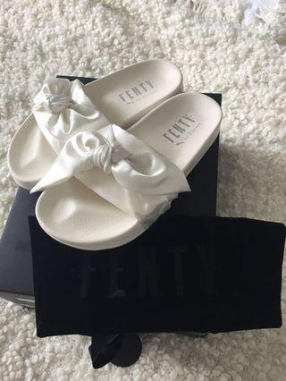 Fenty Puma White Bow Slides