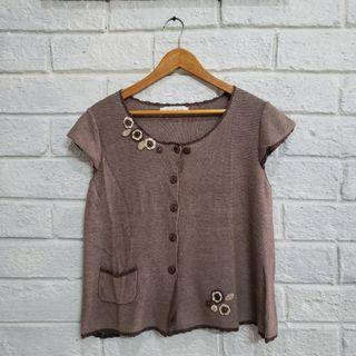 Chinese Brown Knit Blouse Size Medium From Beijing