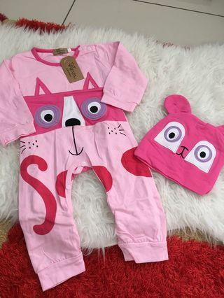 Pink baby jumpsuit with hat size 1 years