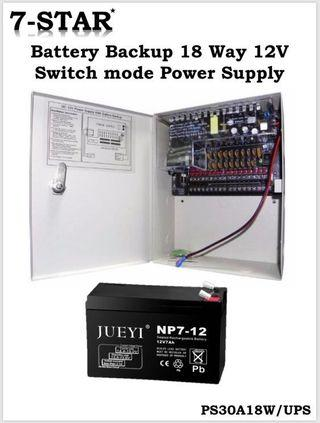 UPS CCTV Power Supply Unit Box - Features:12V/30A/18CH, UPS Backup Battery, Automatic Fuse Recovery with LED Indicator, High Industrial Grade [7-STAR*]