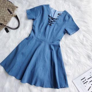 Denim Fit and Flare Sleeve Dress