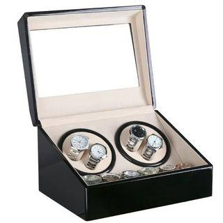 *PROMO* BNIB Automatic classic watch Black Watch Winder Wood Box (Piano Black/ White) for 4 watches winding with 6 watches slot