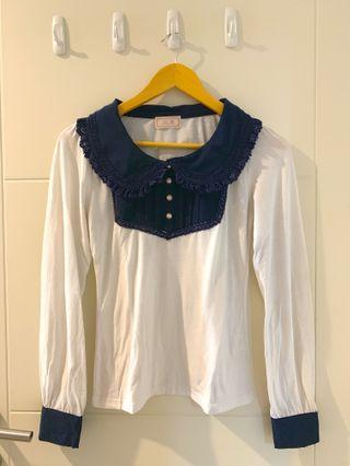 Penderie Japanese blue collar top