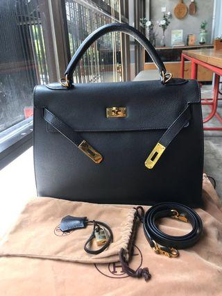 🚚 Hermes Kelly 32 Black Epsom Sellier GHW