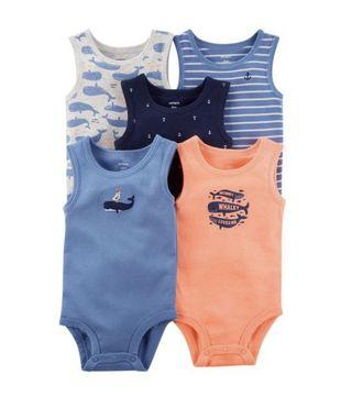 BN Carters Baby Boy Whale 5 Piece Sleeveless Bodysuits Rompers 3mths avail!
