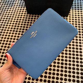 Coach Large Double Zip Wallet/Wristlet in Sky Blue