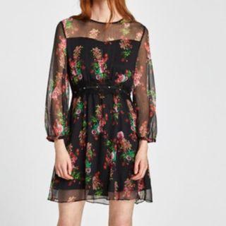 Zara Floral print Black Sheer Mini Dress