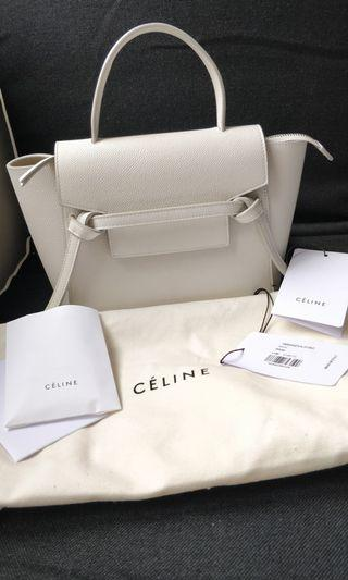 Like new white Celine nano belt bag