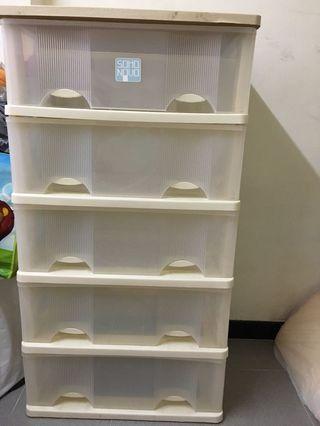 二手米白色五層膠櫃