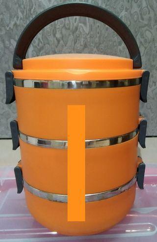 Kotak makan rantang 3 susun stainless steel lunch box - orange