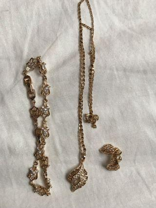 Gold Necklace, Bracelet and Earring Set