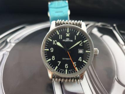 nice 40mm vintage Fortis flieger pilots watch automatic with hacking mens mesh bracelet watch