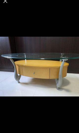 Coffee Table with Tempered Glass Top
